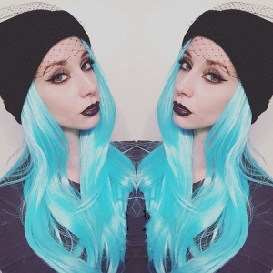Long Straight Black To Turquoise 24