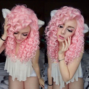Long Curly Hot Pink Colorful 20